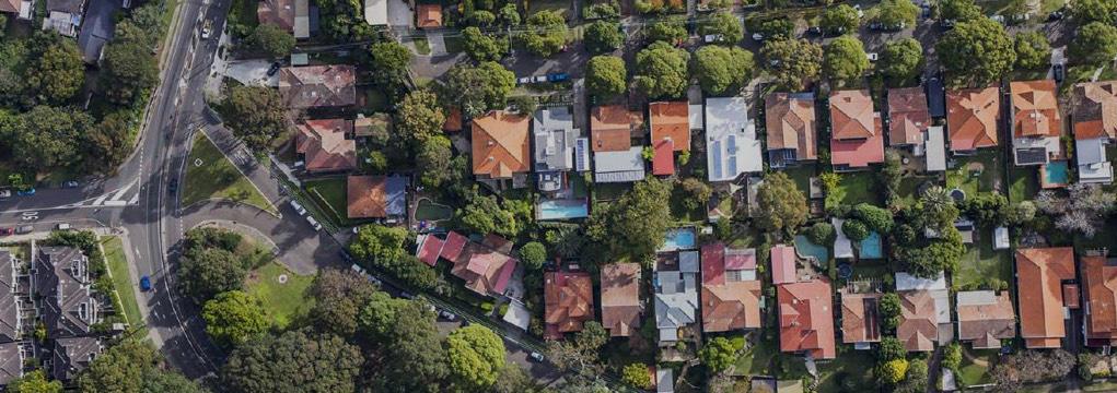 Aerial view of Baulkham Hills Sydney Australia