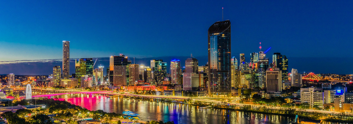 BRISBANE, AUSTRALIA Night time areal image of Brisbane CBD and South Bank. Brisbane is the capital of QLD and the third largest city in Australia