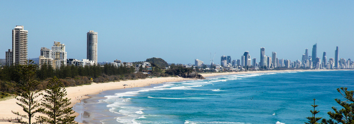 View north from Burleigh Heads towards the Gold Coast - Surfers Paradise. The stretch of beautiful sand is one of the most popular and well known in Australia