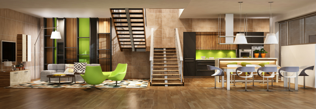 Modern interior of a house, with green accents. Natuaral light coming from the roof. Ample lamps for good lighting