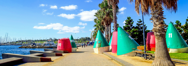 Town of Geelong near Melbourne, Colourfull teepees on the beach front.