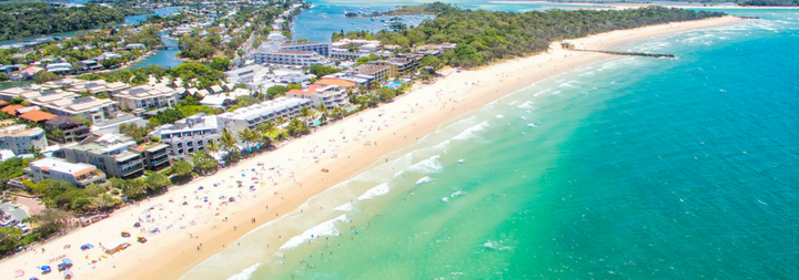 An aerial view of Noosa National Park on Queensland's Sunshine Coast in Australia