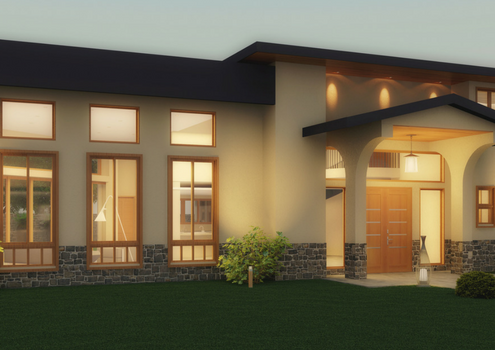 Modern home at dusk. Cream walls lights at night. Green grass.