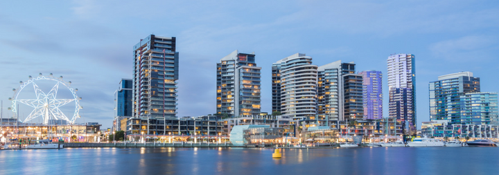 Panoramic image of the Docklands waterfront in Melbourne, Australia