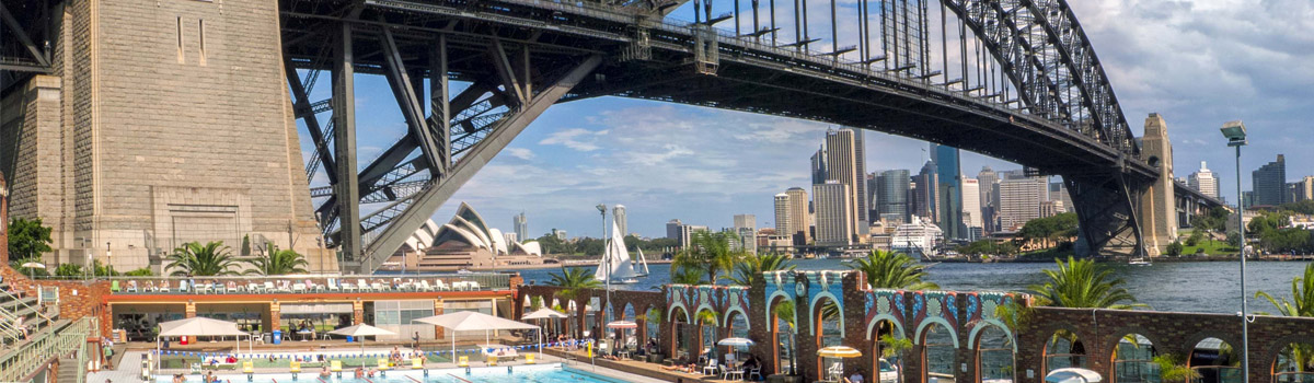 View of North Sydney. Bridge over a river. Over the river you have the skyline of Sydney
