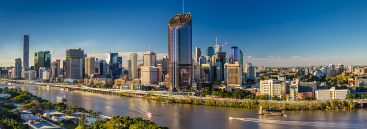 Panoramic areal image of Brisbane CBD and South Bank. Brisbane is the capital of QLD and the third largest city in Australia