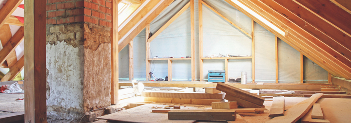 House under construction. Image of the attic being renovated.