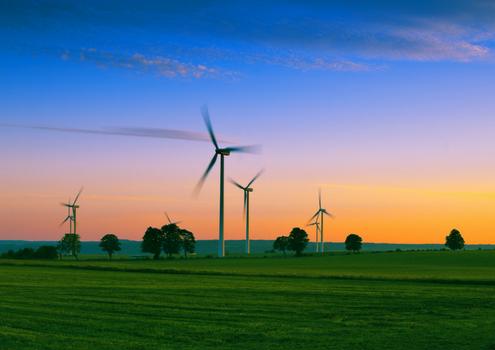 Wind Electricity farm in Australia, beautiful lush green