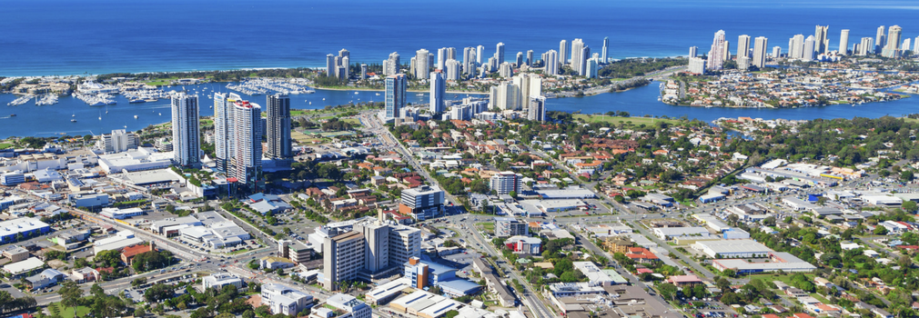 Arial view of Southport on the Gold Coast of Australia. High rise buildings with the sea and beaches.